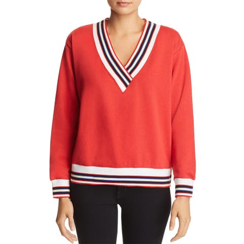 Rebecca Minkoff Womens Kristine Sweatshirt Fleece V-Neck - Red - XXS