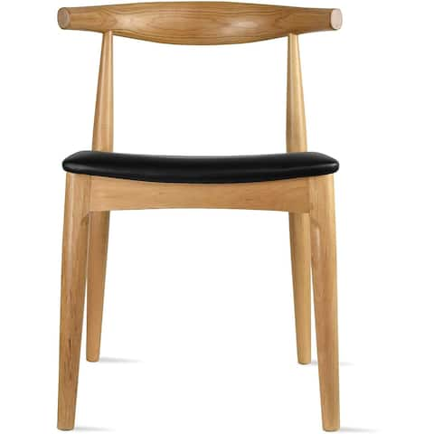 Natural Solid Real Wood PU Leather Cushion Seat Wood Retro Dining Chairs No Arm Side Armless Desk