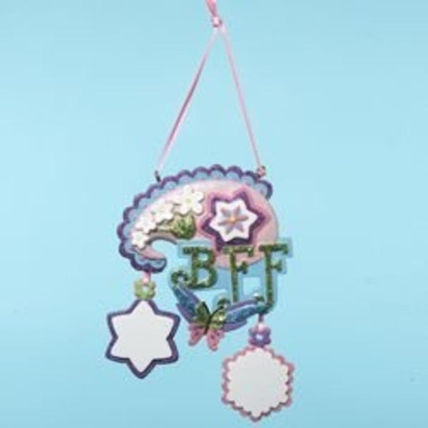 "Tween Christmas ""BFF"" Floral & Butterfly Ornament to Personalize 4.5"""
