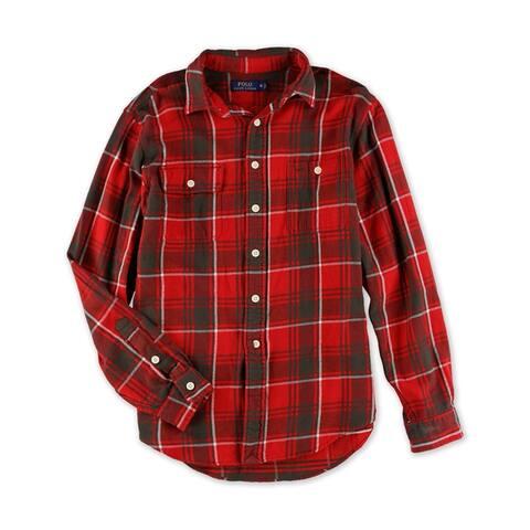 Ralph Lauren Mens Plaid Button Up Shirt, Red, X-Small