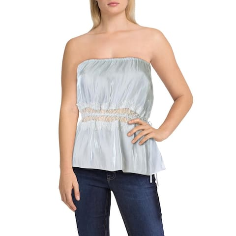 Intimately Free People Womens Strapless Top Off-The-Shoulder Lace Inset