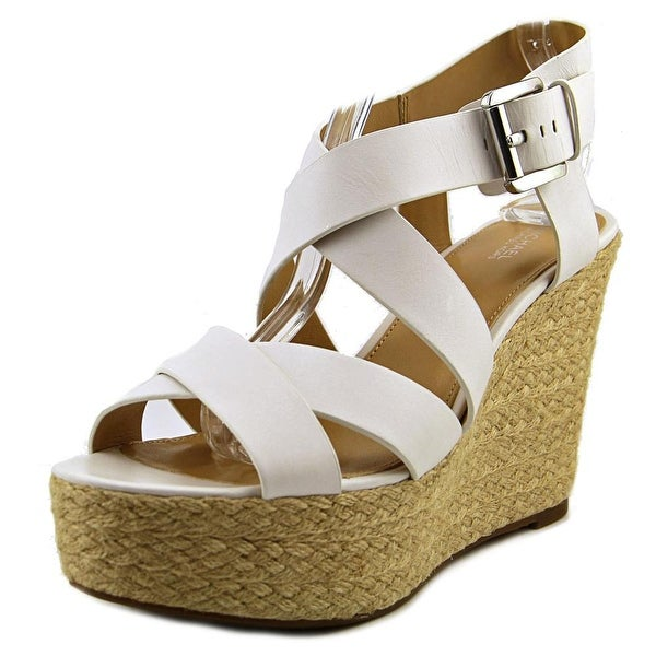 Michael Michael Kors Celia Mid Wedge Women Open Toe Leather Wedge Sandal