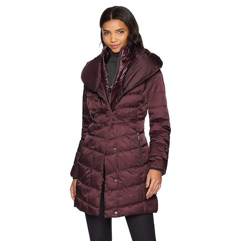 Kenneth Cole New York Women's Thigh Length Zip Puffer Jacket , Rum Raisin, XS