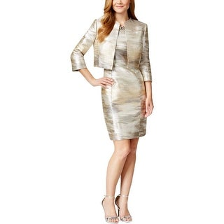 Tahari ASL Womens Dress Suit Metallic 2PC