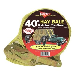 """Keeper 04624 Hay Bale Ratchet Tiedown With J Hook, 2"""" X 40'"""
