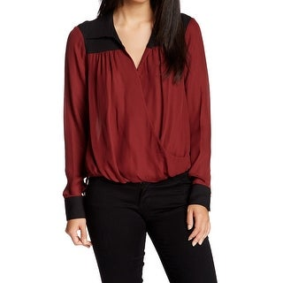 Michael Stars NEW Red Black Women's Size Large L Colorblock Gathered Blouse