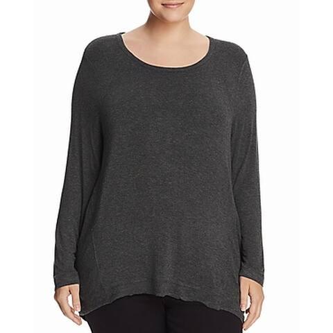 Marc York Womens Blouse Gray Size 2X Plus Long Sleeve Scoop Neck