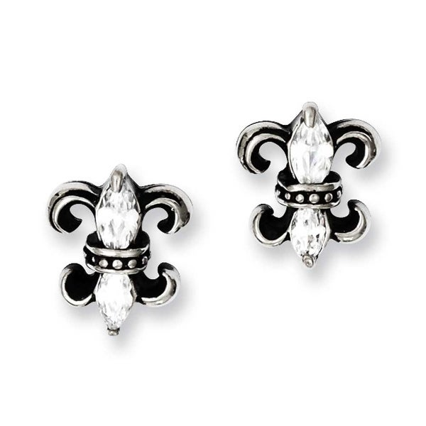 Chisel Stainless Steel Antiqued Fleur de lis with CZ Post Earrings