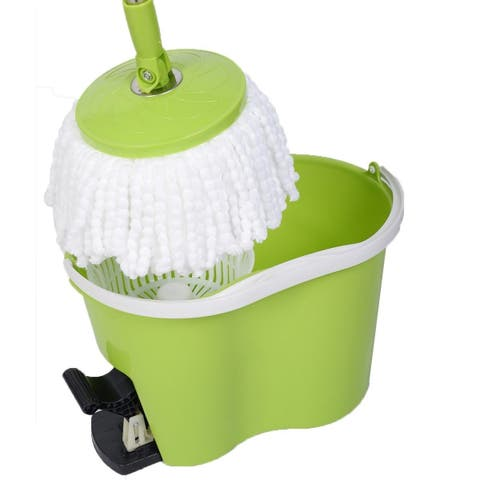 Magic Spin Mop Microfiber Spining W/Bucket 2 Heads 360° Rotating Floor Mop Easy - Green