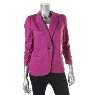 Olivia Moon Womens Ruched Sleeves Peaked Collar One-Button Blazer