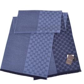 New Gucci Men's 344994 Nile Blue Ombre GG Guccissima Wool Scarf Muffler