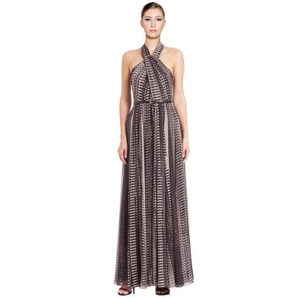 bf2ccef8b7dd6 Halston Heritage Printed Cross Neck Belted Long Evening Gown Dress - 8
