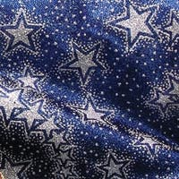 "Semi Sheer Metallic Navy Blue and Silver Star Print Wired Craft Ribbon 2"" x 40 Yards"
