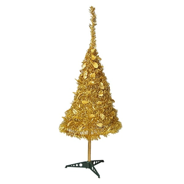 Unique Bargains Artificial Gold Tone Tinsel Cone X'mas Christmas Tree