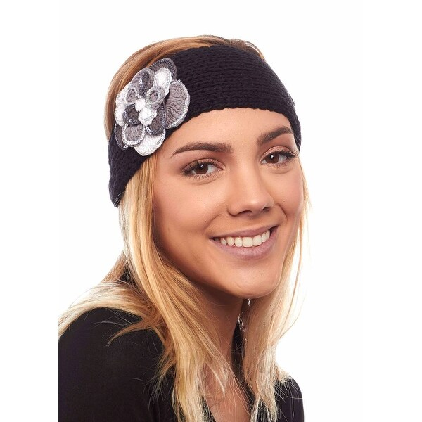 Chilled Carnation Knit Winter Headband with Flower
