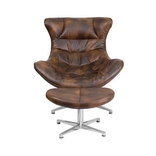 Offex Bomber Jacket Leather Cocoon Chair with Ottoman