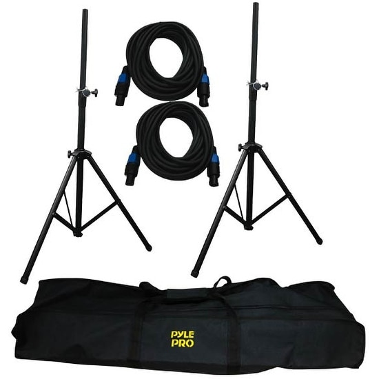 Heavy-Duty Aluminum Anodizing Dual Speaker Stand & 21FT Speakon Cable Kit