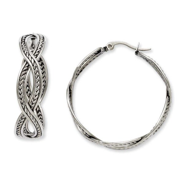 Stainless Steel 35mm Twisted Hoop Earrings