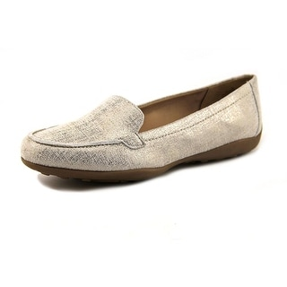 Easy Spirit e360 Jeyden Women Moc Toe Leather Silver Loafer