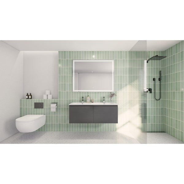 """Aipo 48"""" Single Sink Wall Mounted Vanity with Reinforced Acrylic Sink. Opens flyout."""