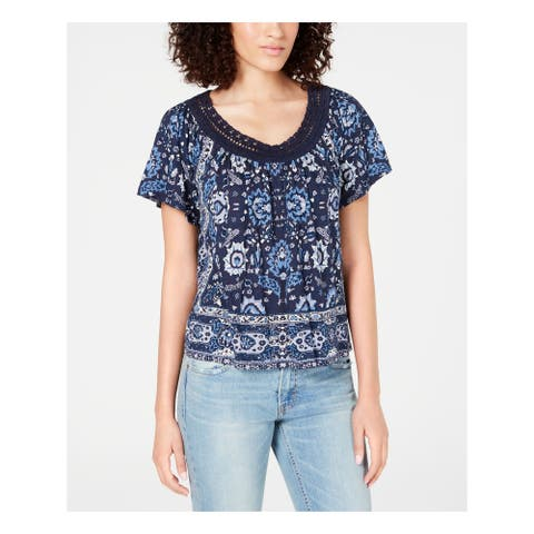 LUCKY BRAND Womens Blue Floral Short Sleeve Peasant Top Size XS