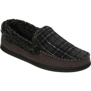 Dearfoams Men's Microsuede Whipstitch Moccasin Slipper Pavement Microsuede