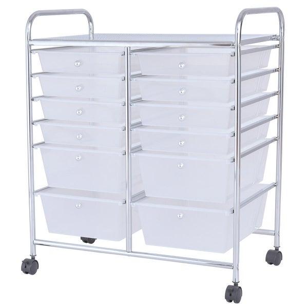 Gymax Office Rolling Cart 12 Storage Drawer Studio Organizer Bins Scrapbook  Paper