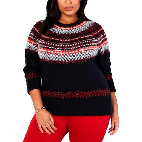 Tommy Hilfiger Womens Plus Pullover Sweater Sequined Printed