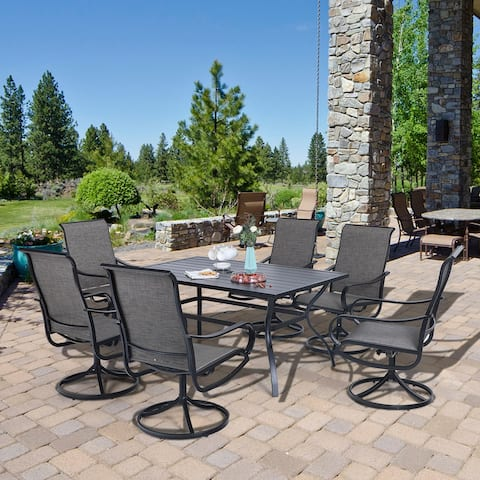 """MFSTUDIO 7-Piece Patio Dining Set, 6 Sling Dining Swivel Chairs and Steel Frame Slat Rectangular Table with 1.57"""" Umbrella Hole"""