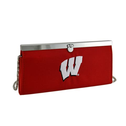 Embroidered Wisconsin Badgers Fabric Clutch Wallet w/Chain Strap - 4 X 8.5 X 0.75 inches