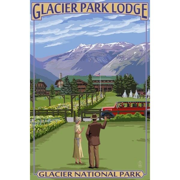 Glacier Park, MT - Glacier Park Lodge - LP Artwork (Acrylic Wall Clock) - acrylic wall clock