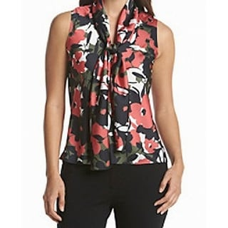 Nine West NEW Red Green Womens Size Large L Tie-Neck Floral Tank Blouse