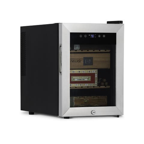 NewAir 250 Count Electric Cigar Humidor Wineador, With Thermoelectric Cooling, Glass Door, and Spanish Cedar Drawer and Shelves