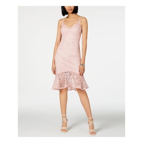 GUESS Pink Spaghetti Strap Below The Knee Sheath Dress Size 10