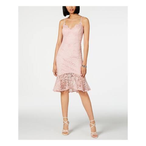 GUESS Pink Spaghetti Strap Below The Knee Sheath Dress Size 4