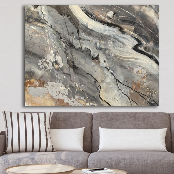 Designart 'Fire and Ice Minerals II' Farmhouse Canvas Artwork Print - Black. Opens flyout.