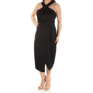 Womens Black Sleeveless TeaLength Tulip Wear To Work Dress Size: 0