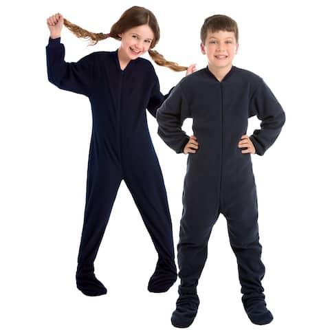Big Feet Pjs Big Boys Junior Navy Fleece Kids Footed Pajamas One Piece Sleeper