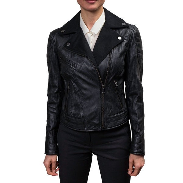 Buffalo Women's Black Leather and Wool Moto Jacket
