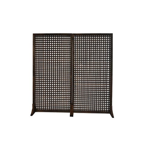 """36"""" W x 72"""" H Solid Wood Privacy Screen Room Divider With Wood Stand"""