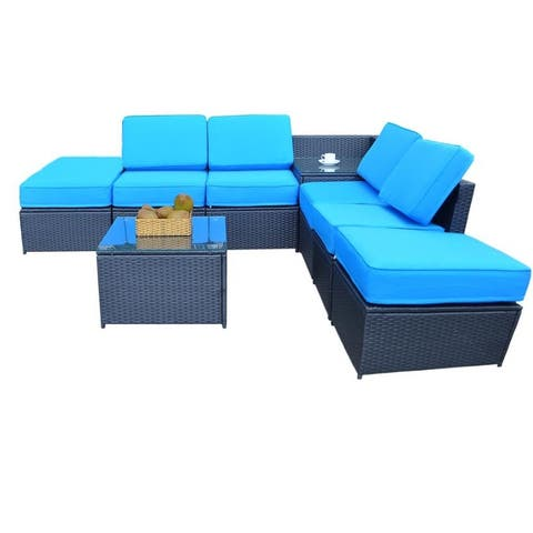 Mcombo Outdoor Patio Black Wicker Furniture Sectional Set All-Weather Resin Rattan Chair Conversation Sofas 6085 8PC