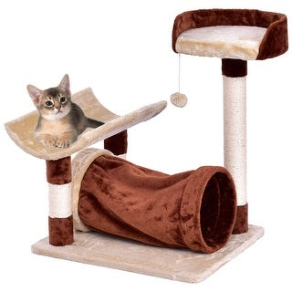 Gymax Cat Tree Pet Furniture Kitten Play Tower Bed Layer Scratching Post w Hanging Toy