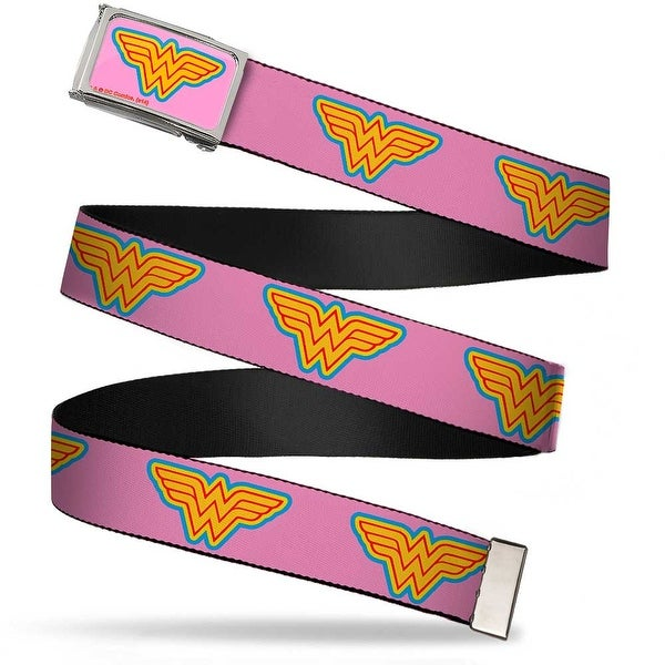 Wonder Woman Logo Fcg Pink Blue Yellow Pink Chrome Wonder Woman Logo Web Belt