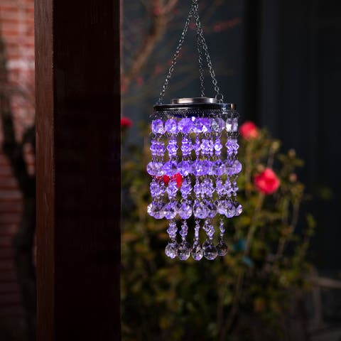 """Glitzhome 19""""H Solar Lighted Acrylic Jewel Beads Wind Chime Hanging Decor"""
