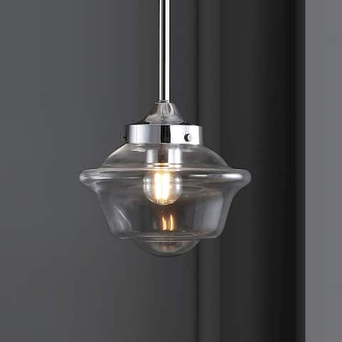 "Kurtz 7.25"" Adjustable Drop Metal/Glass LED Pendant, Chrome by JONATHAN Y"