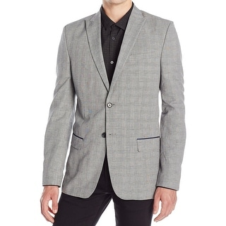 Calvin Klein NEW Grey Mens Size 2XL Slim Fit Two Button Plaid Blazer