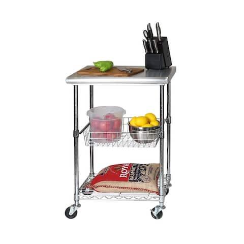 Porch & Den Allerton Stainless Steel Kitchen Work Table Cart