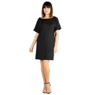 24seven Comfort Apparel Loose Fitting T Shirt Dress For Women