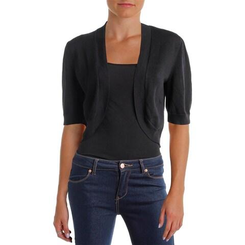 Lauren Ralph Lauren Womens Shrug Sweater Knit Ribbed Trim