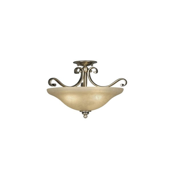 "Vaxcel Lighting CF35417 Monrovia 3-Light Semi-Flush Indoor Ceiling Fixture with Frosted Glass Shade - 17"" Wide"